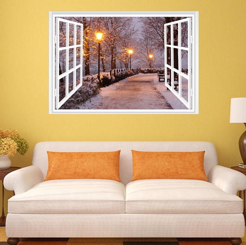3D Fake Window View Snow Tree Street light Decal Wall Sticker Decor ...