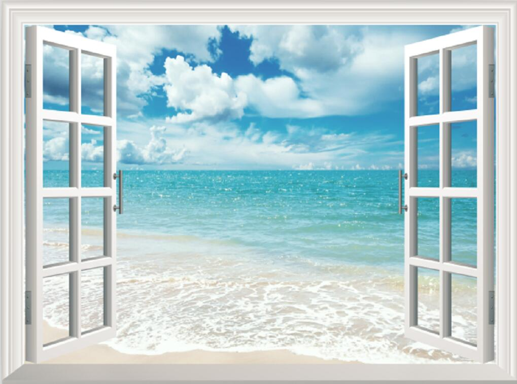 Blue Sky White Beach Fake Window View Wall Stickers Home Office Decor Mural