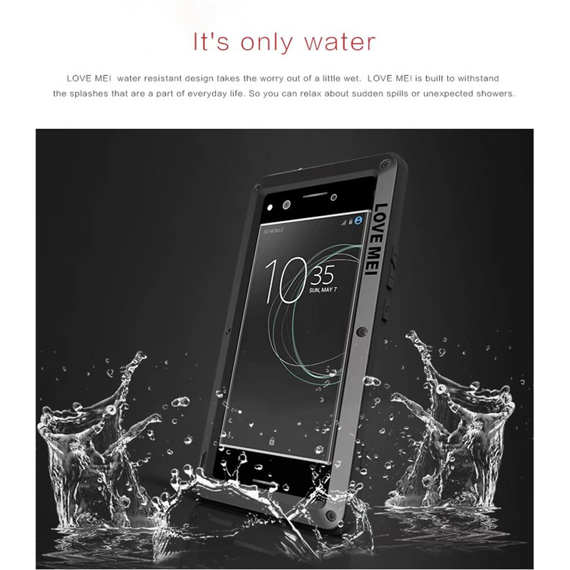 check out 255c3 abbb4 Details about For Sony Xperia XA1 Ultra XZ LOVE MEI Military Waterproof  Metal Glass Case Cover