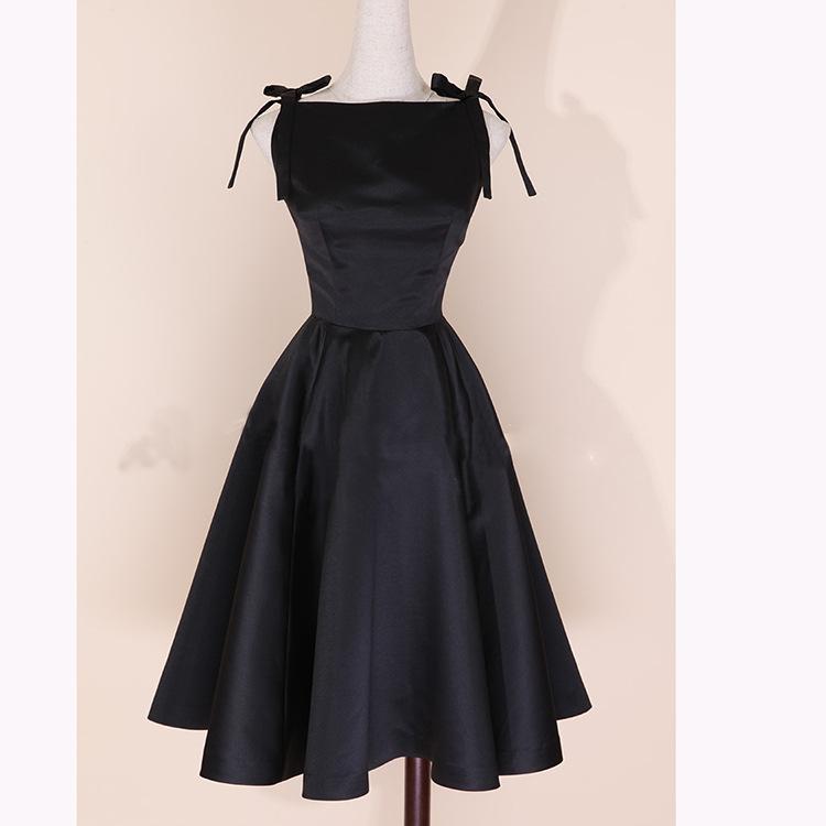 2017 Women Casual Classic Strap Slip Sleeveless Hepburn Dress Black Braces dress