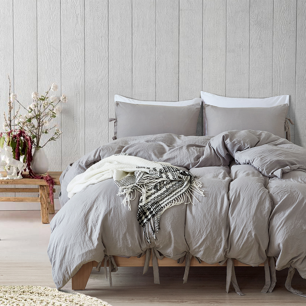 589dbcff4a2 Details about Light Gray Duvet Cover Microfiber Washable Cotton Quilt Cover  PillowCase Bedding