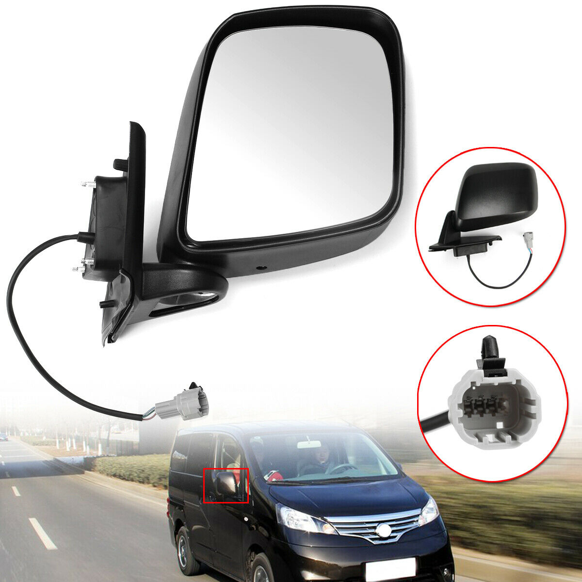 Left Passenger Side Rearview Mirror Electric Wing Door Mirror for Nissan NV200