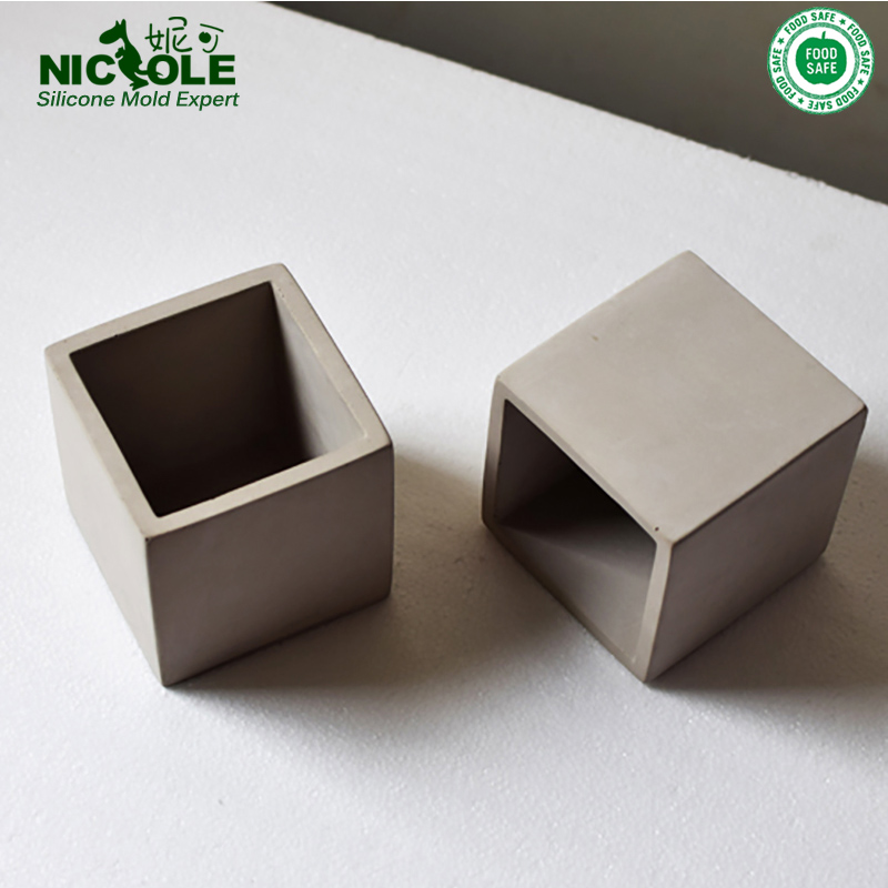 Cube Concrete Silicone Mold Planter Flower Pot Cement Vase Mould