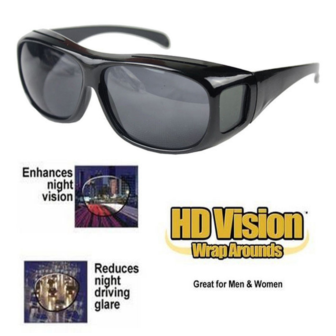 e92efcafe9 Unisex HD Vision Driving Sunglasses Wrap Around Glasses As Seen TV Anti  Glare UV