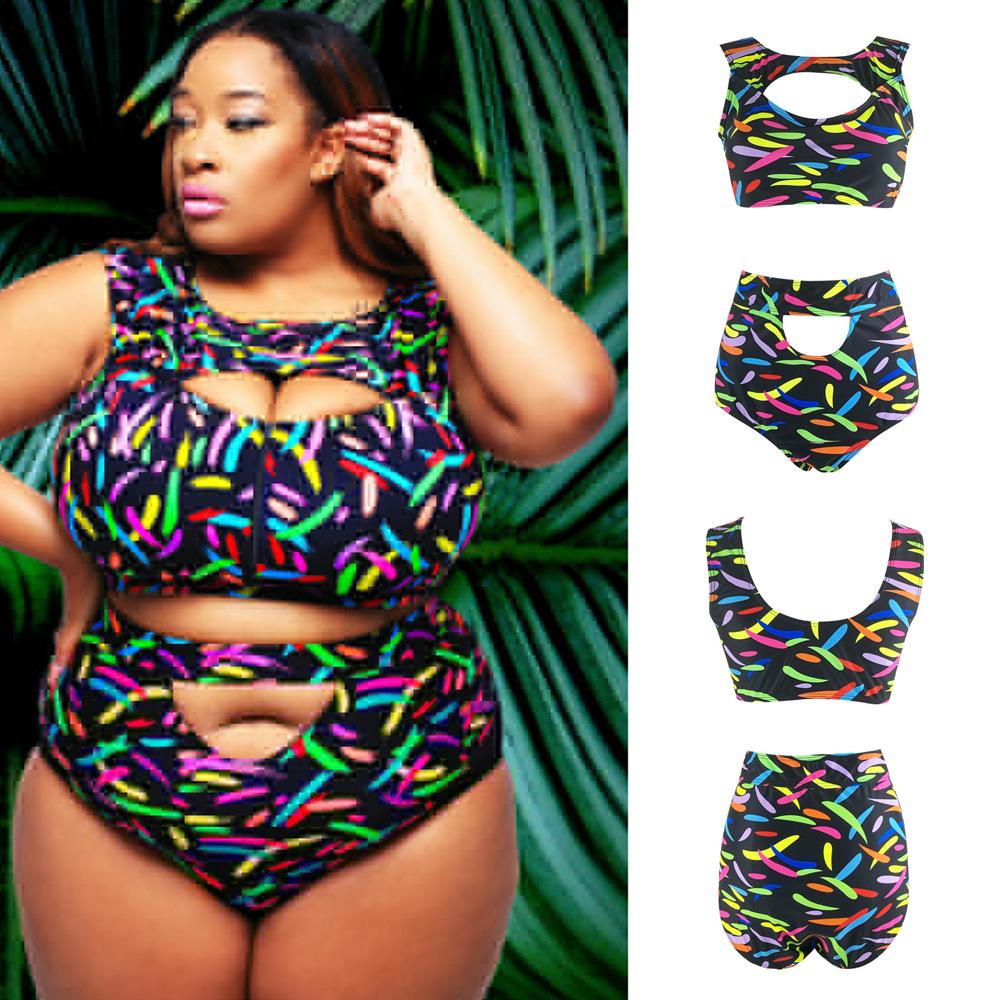 b4993840d6e1d 2 piece Plus Size Women s High Waist Floral Bikini Set Swimsuit Beach  Swimwear