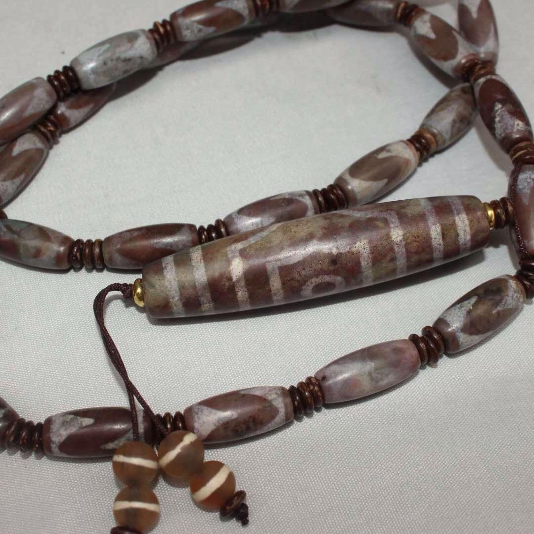 Chinese Antique Tibetan Buddhism hand-polished Dzi Bead Necklace B 5.5
