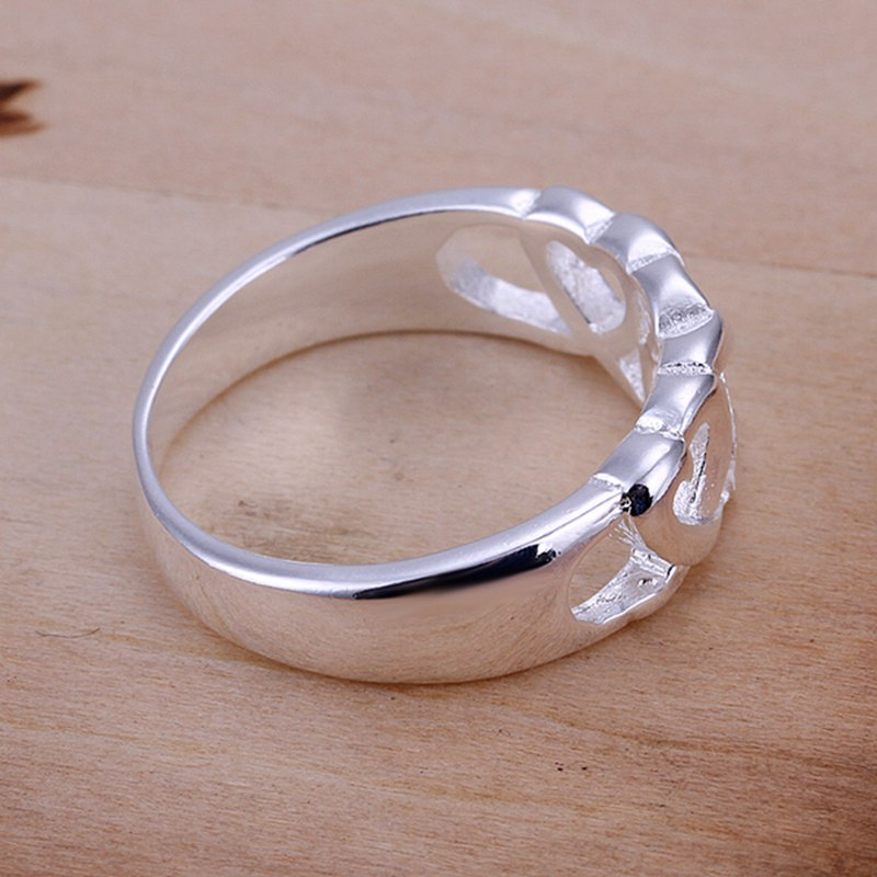 Fashion 925Sterling Solid Silver Jewelry Heart Rings For Women R133