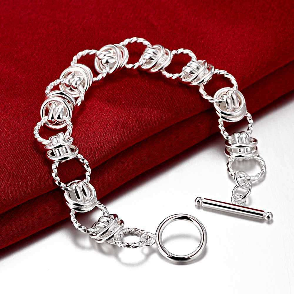 Fashion 925Sterling Solid Silver Jewelry Bright Round Bracelet For Women H208