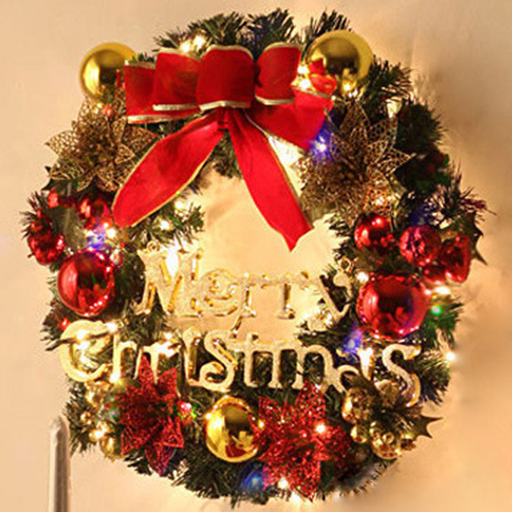 30CM Christmas Handmade Wreath Door Wall Garland Bowknot Ball Flower ...