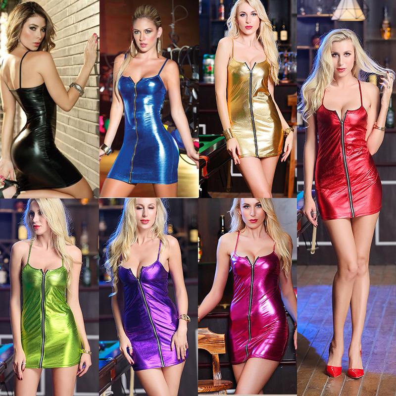 Minikleid Kleid kurz Reißverschluss Lack Wäsche Leder ...