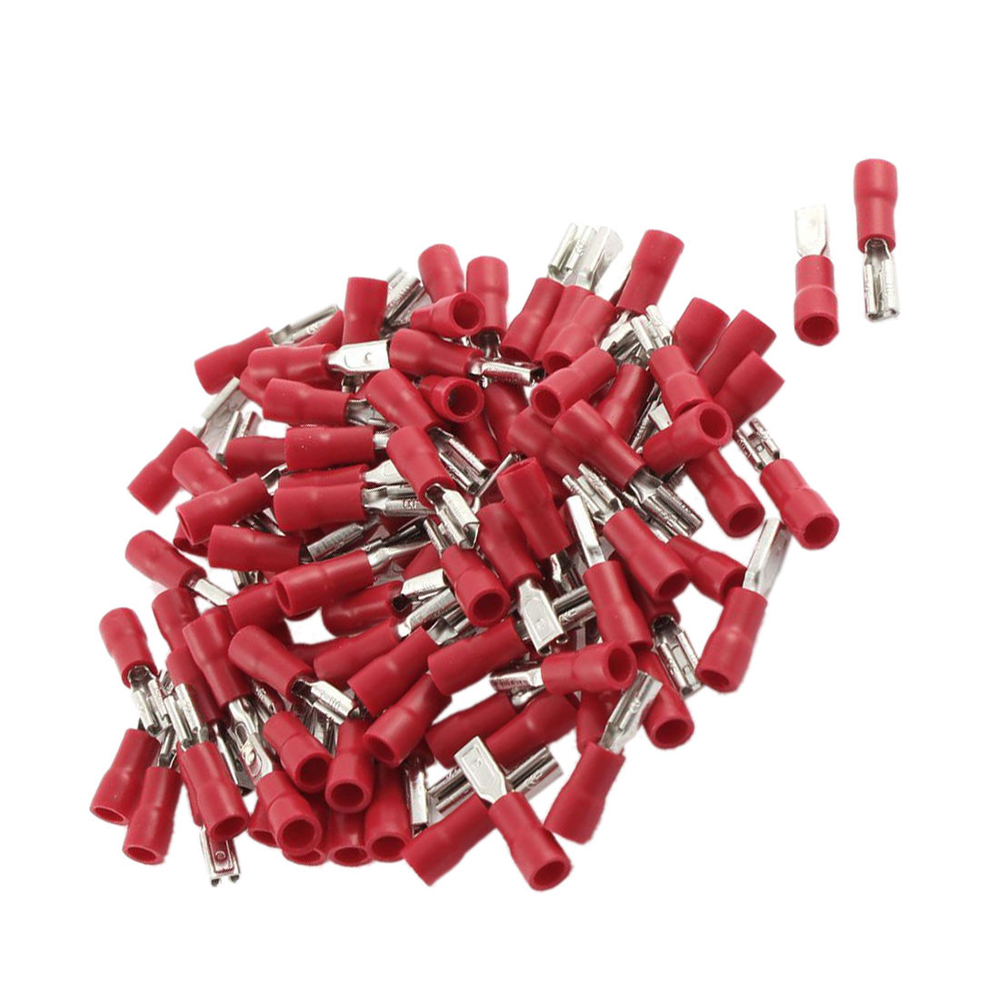 100Pc FDD1.25-187 16-22 AWG Insulated Female Spade Wire Red Crimp Terminal 4.8mm