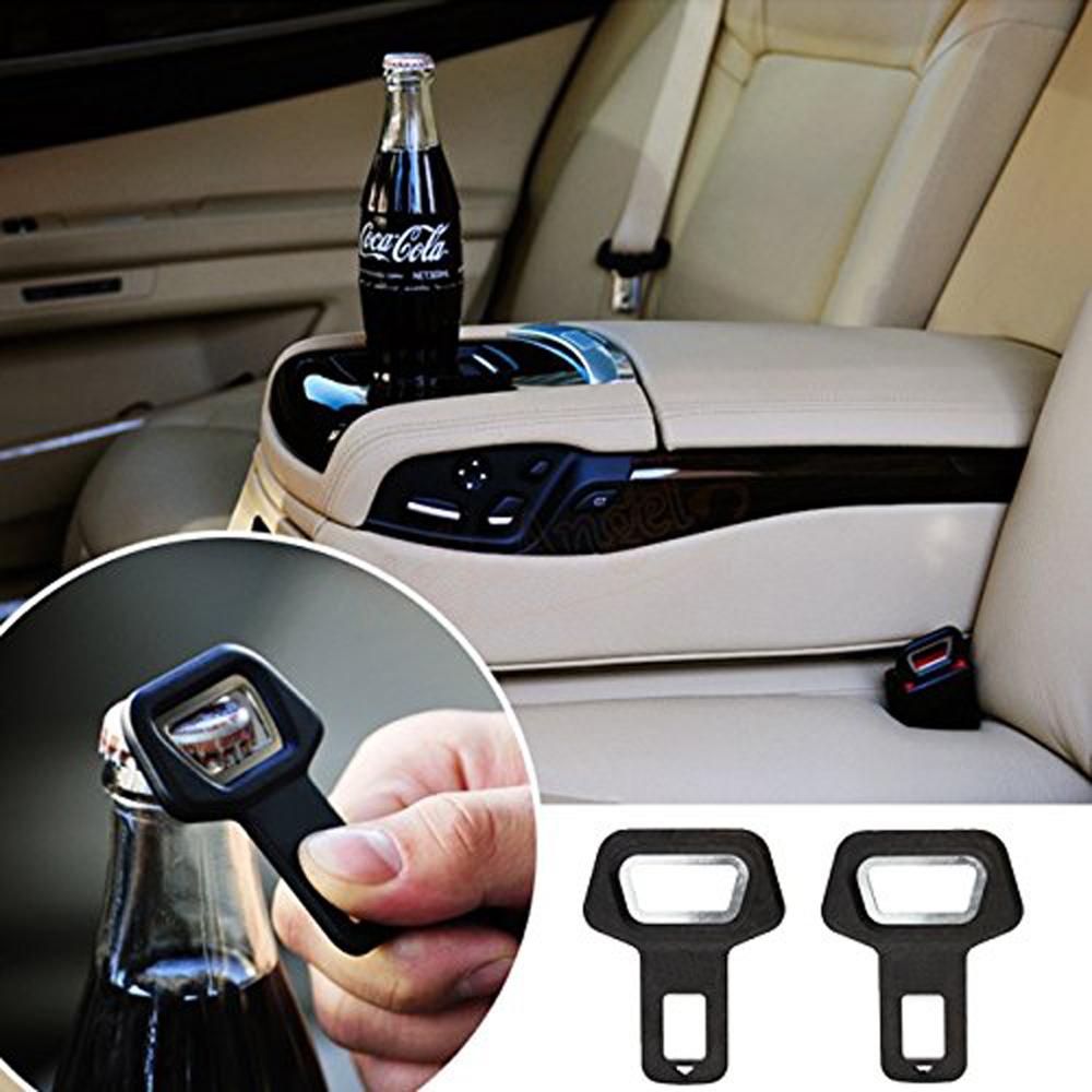 1Pcs Metal Car Seat Belt Buckles Clip Insert Warning Alarm Stopper Bottle Opener