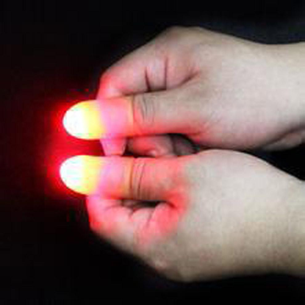 2pcs Colorful LED Magic Light Up Silicone Thumb Props Fingers Trick Prank Novel