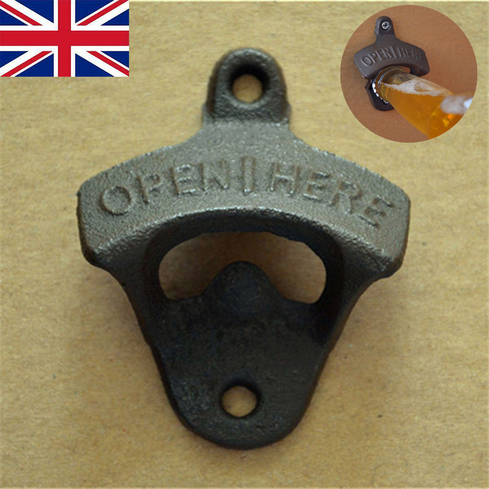 Retro Cast Iron OPEN HERE Wall Mounted Bottle Cap Opener Bar Kitchen Beer uk
