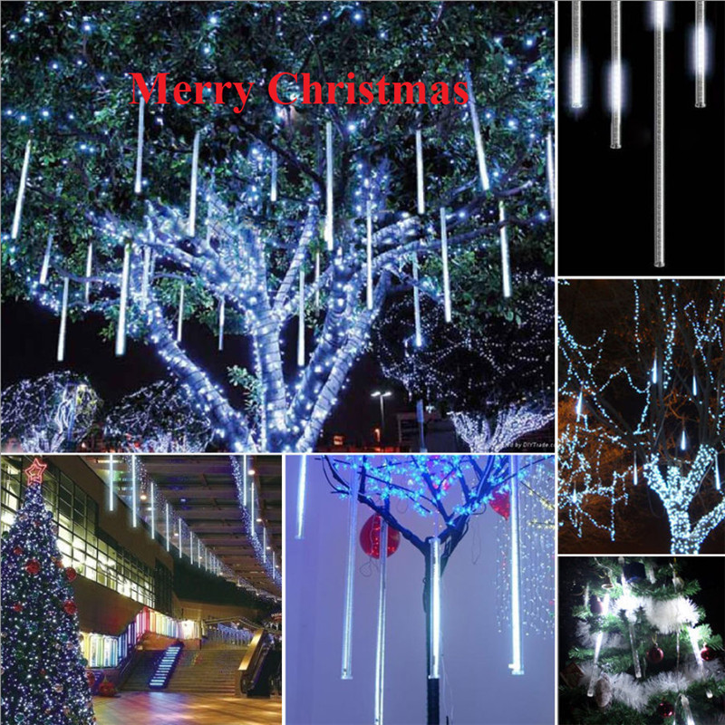 meteor shower falling starrain dropicicle snow led xmas tree string light us