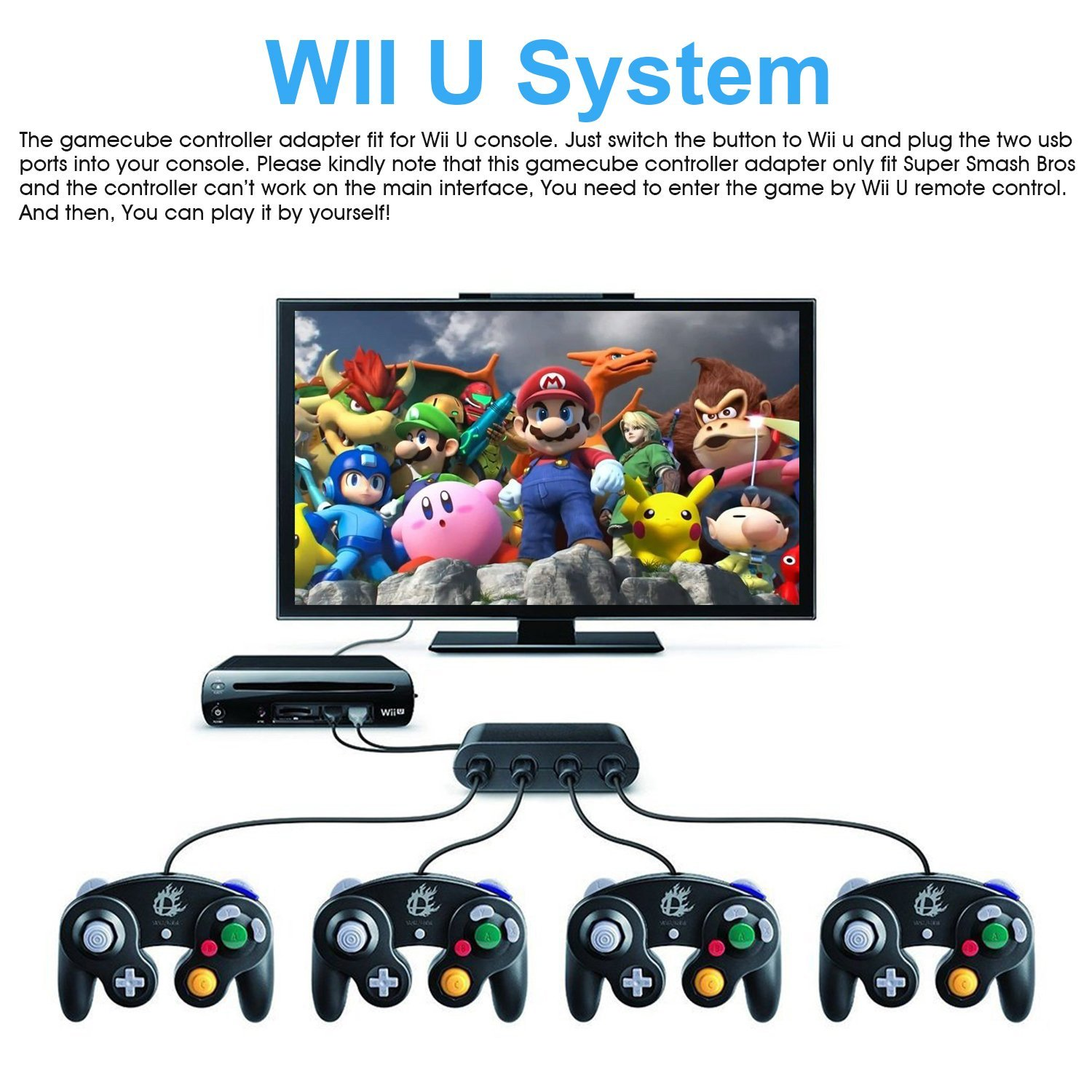 Details about 2 GameCube USB controller + 1 Adapter for Super Smash Bros  Nintendo Wii U & PC
