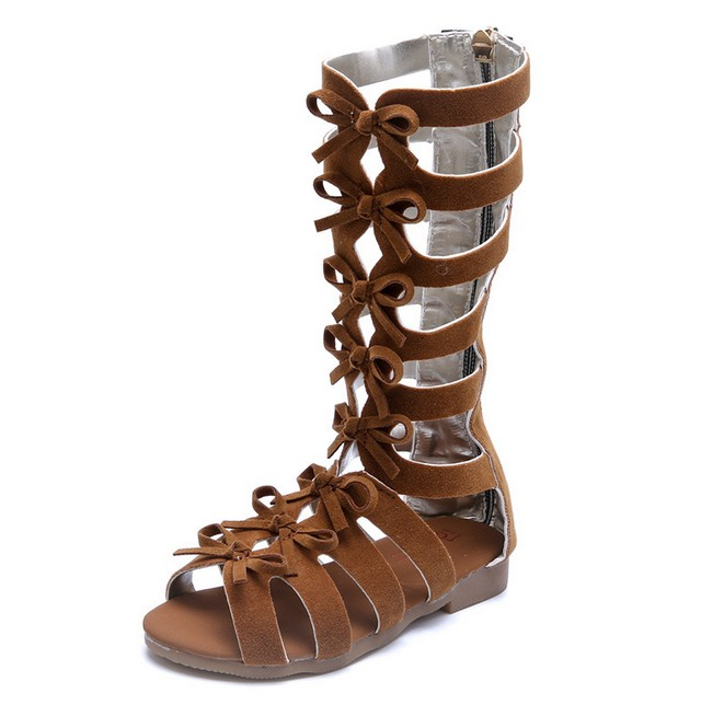 Children Kids Girl Cute Roman Sandals High-Top Toddler Baby Girl Gladiator Shoes