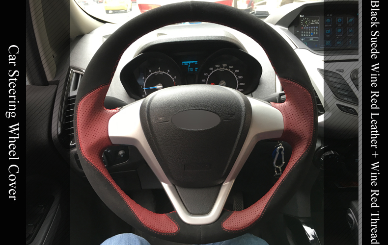 For Ford Puma Black Leather Steering Wheel Cover Red Stitch