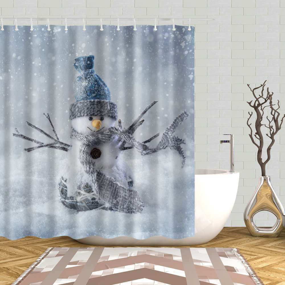 Details About Lovely Snowman Shower Curtain Polyester Fabric Bath Curtains Decor Set 12 Hooks