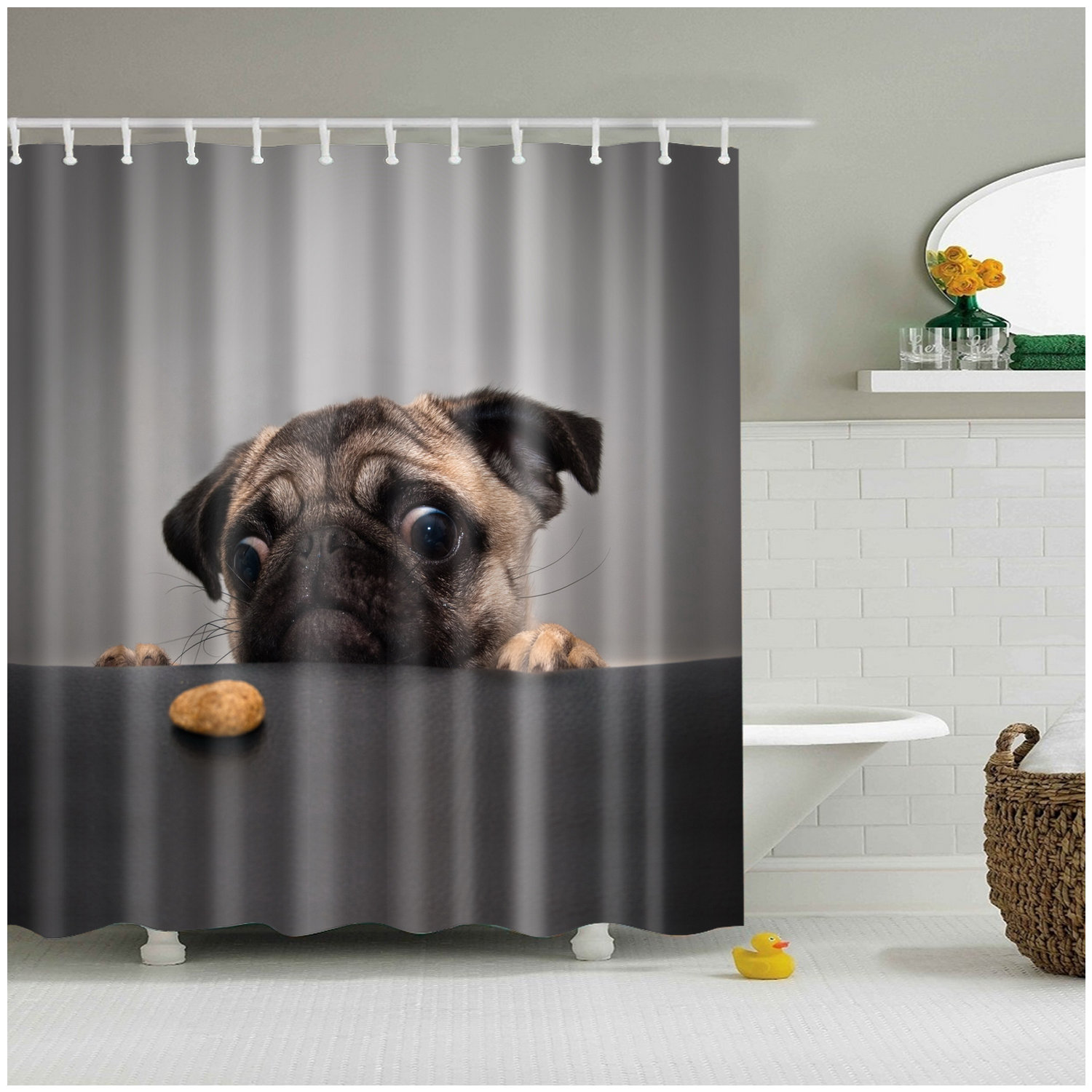 . Details about Shower Curtain Art Bathroom Decor Animals Cute Pug Dog 3D  Curtains  12 pcs hooks