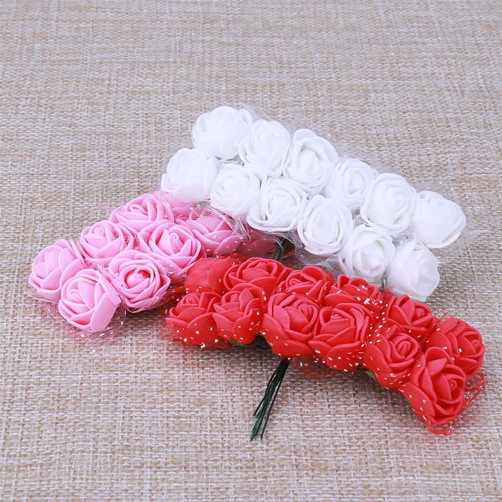 100-500pcs 3-4cm PE Flowers Colorfast Roses  Wedding Centerpieces Bridal Bouquet