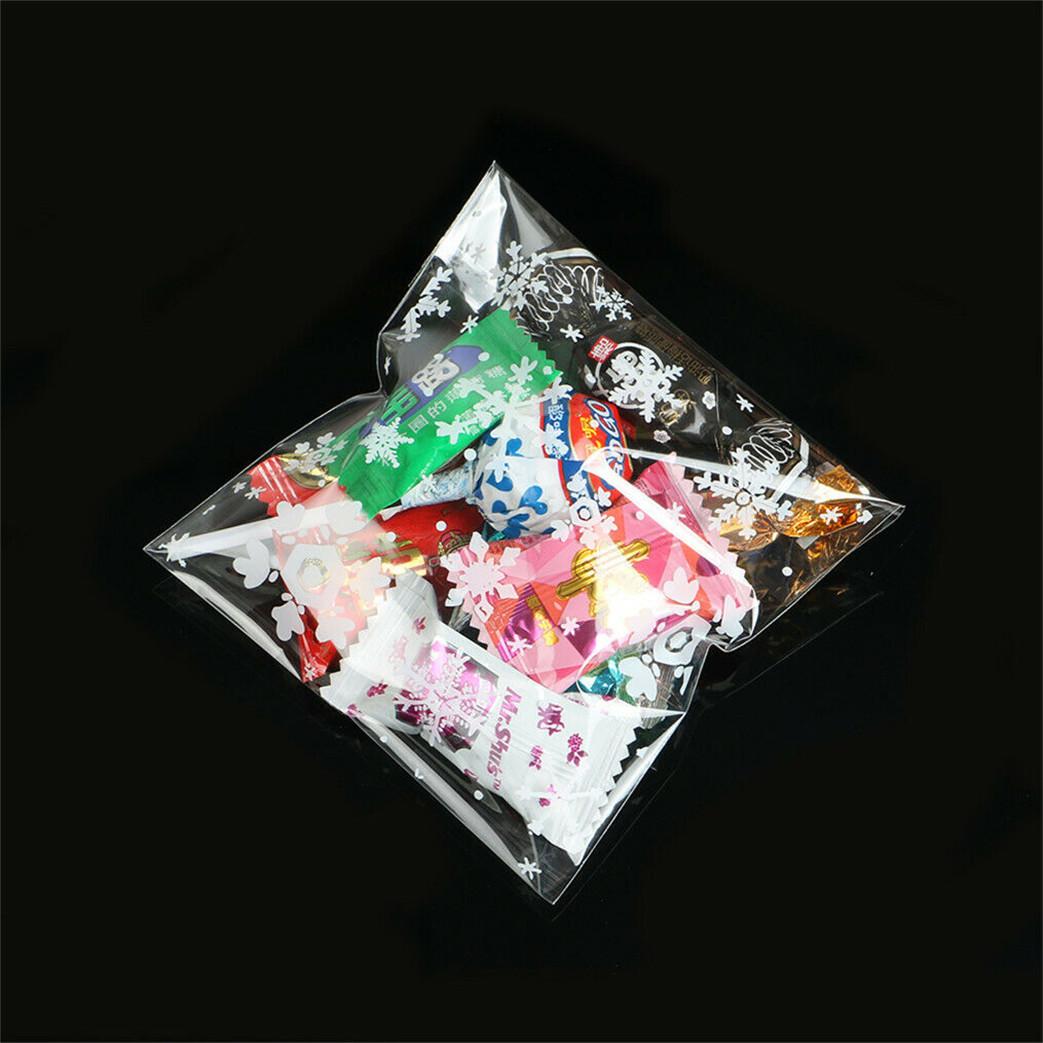 100pcs Xmas Cellophane Candy Gift Bags Snowflakes Cello ...