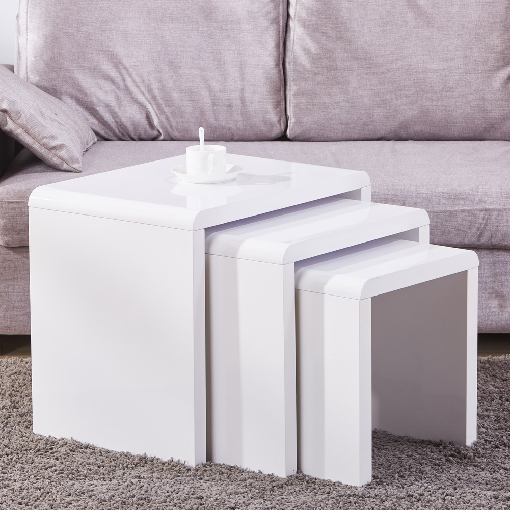Coffee Table 3 Layers White High Gloss: Nest Of 3 Coffee White Table Side End Tables High Gloss
