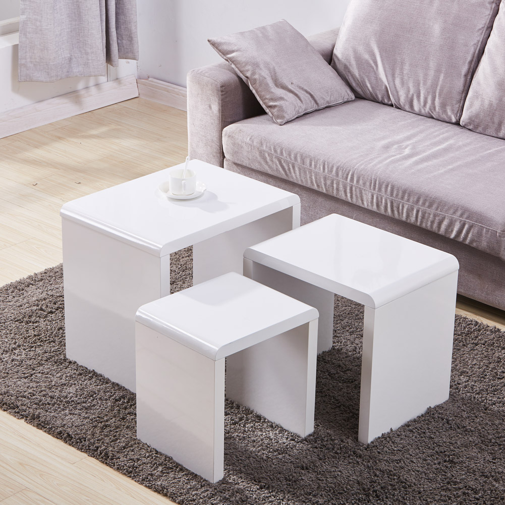 Nest Of 3 High Gloss White Curved Coffee Table Side Tables: Nest Of 3 Coffee White Table Side End Tables High Gloss
