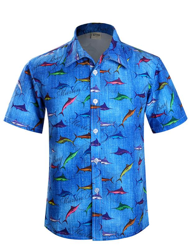 Mens short sleeve hawaiian shirt fish pattern beach for Mens short sleeve patterned shirts