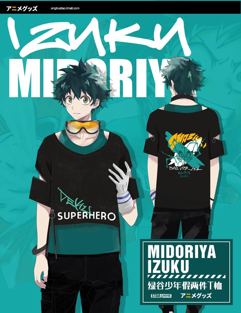 My Boku no Hero Academia Midoriya Izuku T-shirt Short sleeve Fashion Tops Shirt