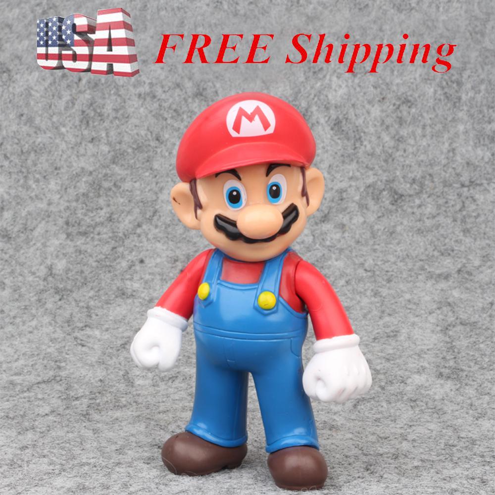 6 pcs Super Mario Bros Luigi Action Figure kid Gift Cake Topper Toy US Seller