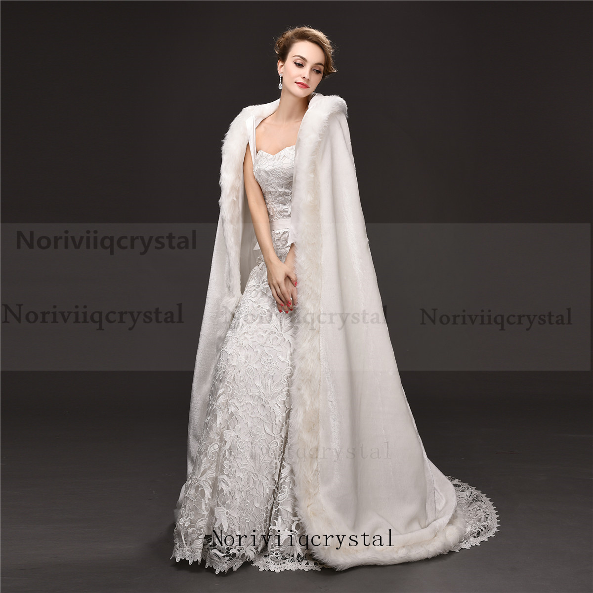 Elegant White Faux Fur Long Wedding Cape Warm Women Jacket