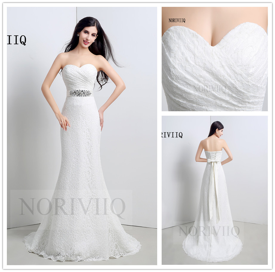 Retro Sexy Wedding Dress Lace Open Back Mermaid White Brdal Dresses Beaded