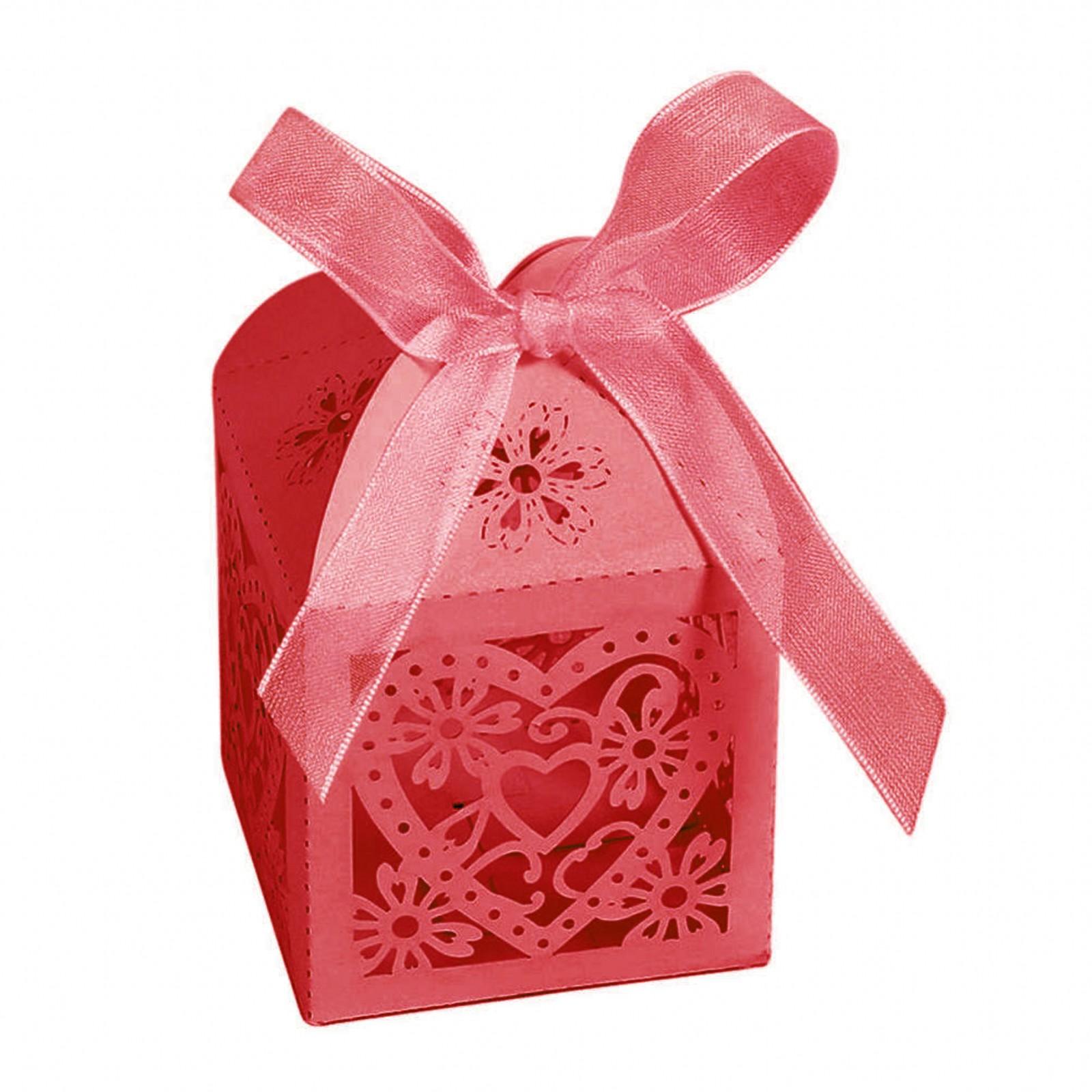 10/50/100Pcs Love Heart Favor Ribbon Gift Box Candy Boxes Wedding ...
