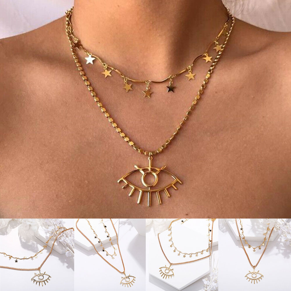 Multi Layer Necklace Gold 3 Layer Chain Evil Eye Star Crystal Pendant Necklace