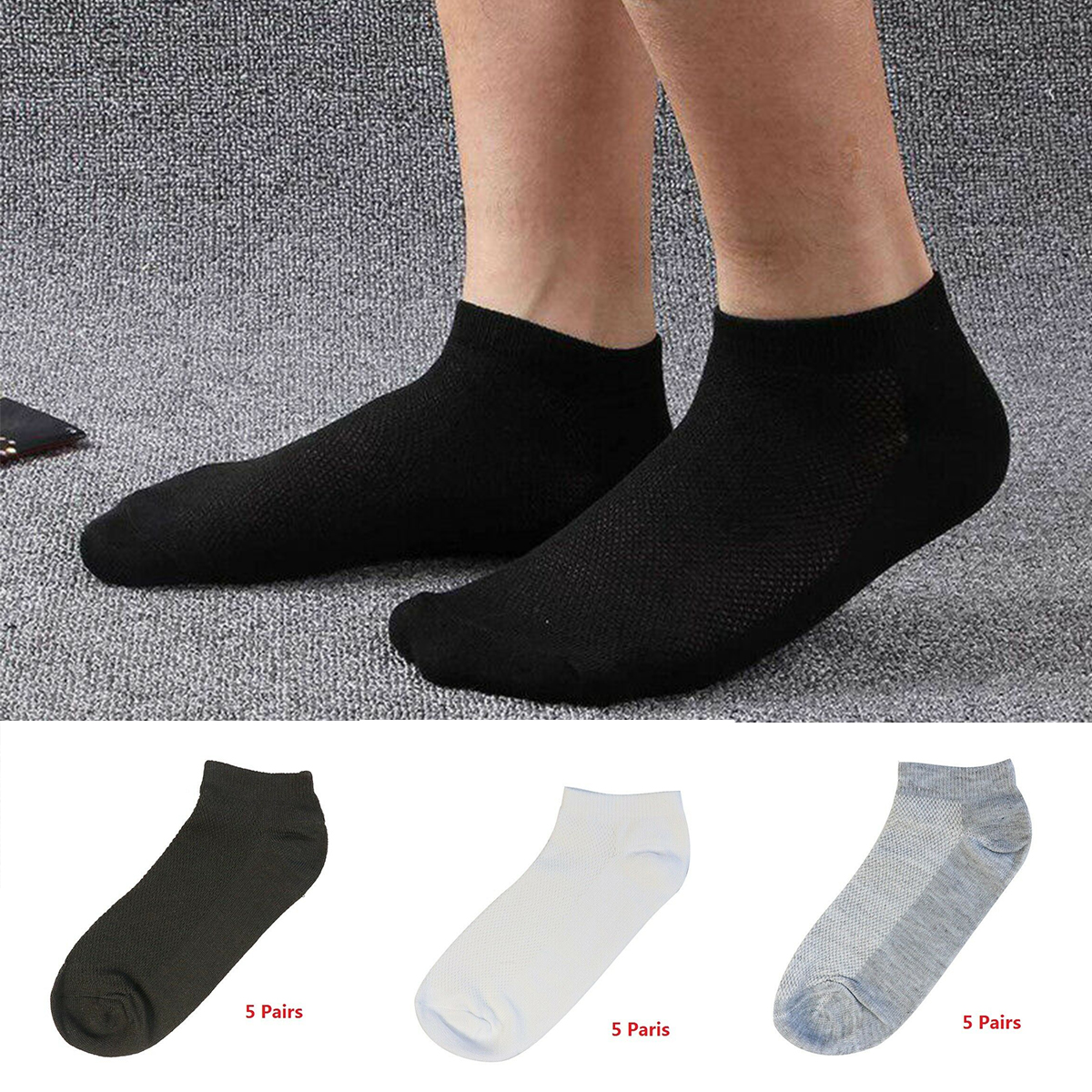 NEW 5 Pairs Ankle Crew Mens Socks Cotton low cut Casual Sport Multi Color Sock