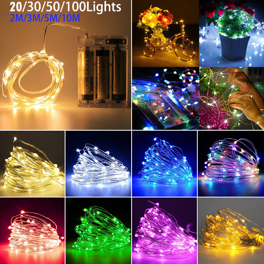 2M 20 LEDs Copper Wire Fairy String Lights Christmas Wedding Party Decoration
