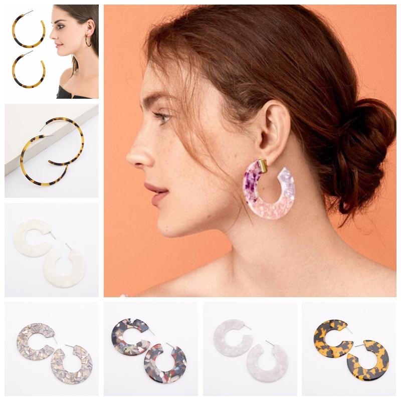 Women Big Circle Hook Earrings Round Ear Stud Earring Jewelry C