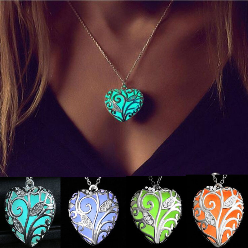 Pretty Crystal Magic Heart Hollow Locket Fairy Glow In The Dark Pendant Necklace