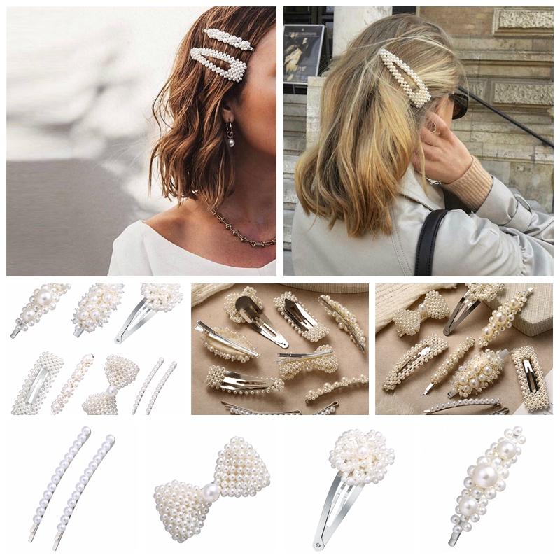 Women Cute Sweet Pearl Crystal Hairpin Hair Accessory Barrettes Headdress Girls