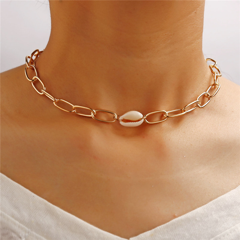 Silver Plated Clavicle Chain Unique Square Natural Shell Pendant Necklace Jewel
