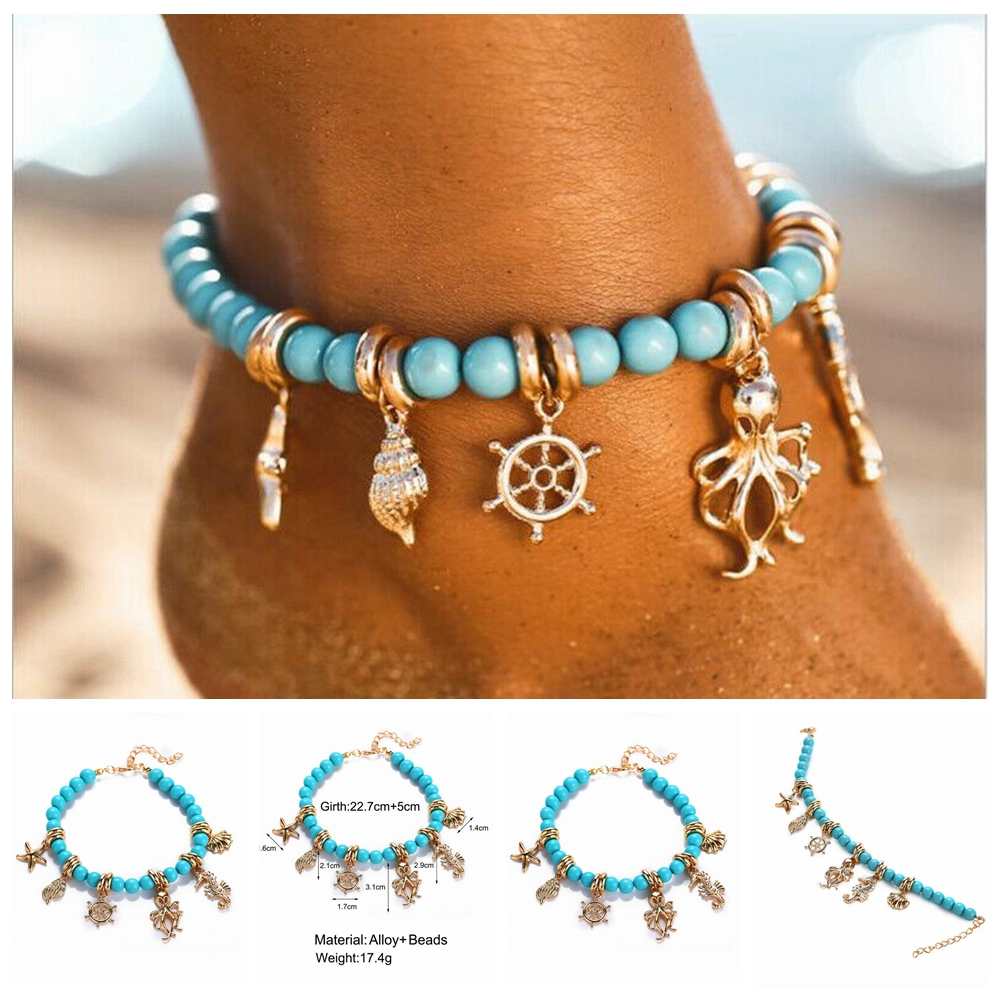 Boho Starfish Shell Beach Foot Chain Conch Sandal Anklets Beads Bracelet Jewelry