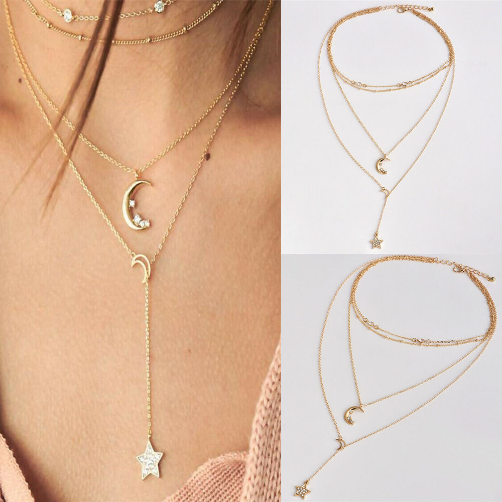 New Fashion Multilayer Choker Necklace Star Moon Chain Gold Women Summer Jewelry