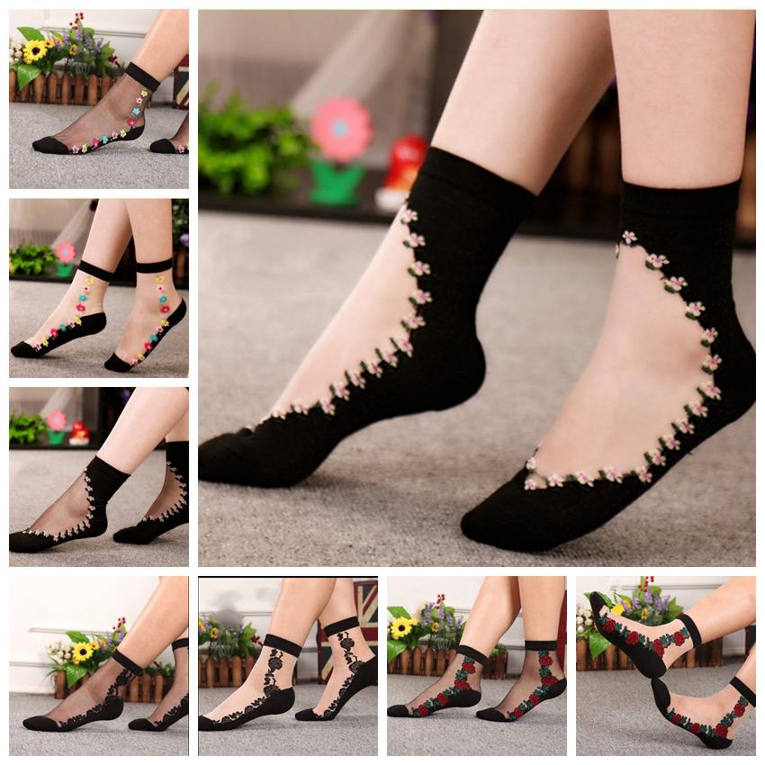 Women Summer Transparent Thin Flower Lace Socks Crystal Silk Short Socks B6G2