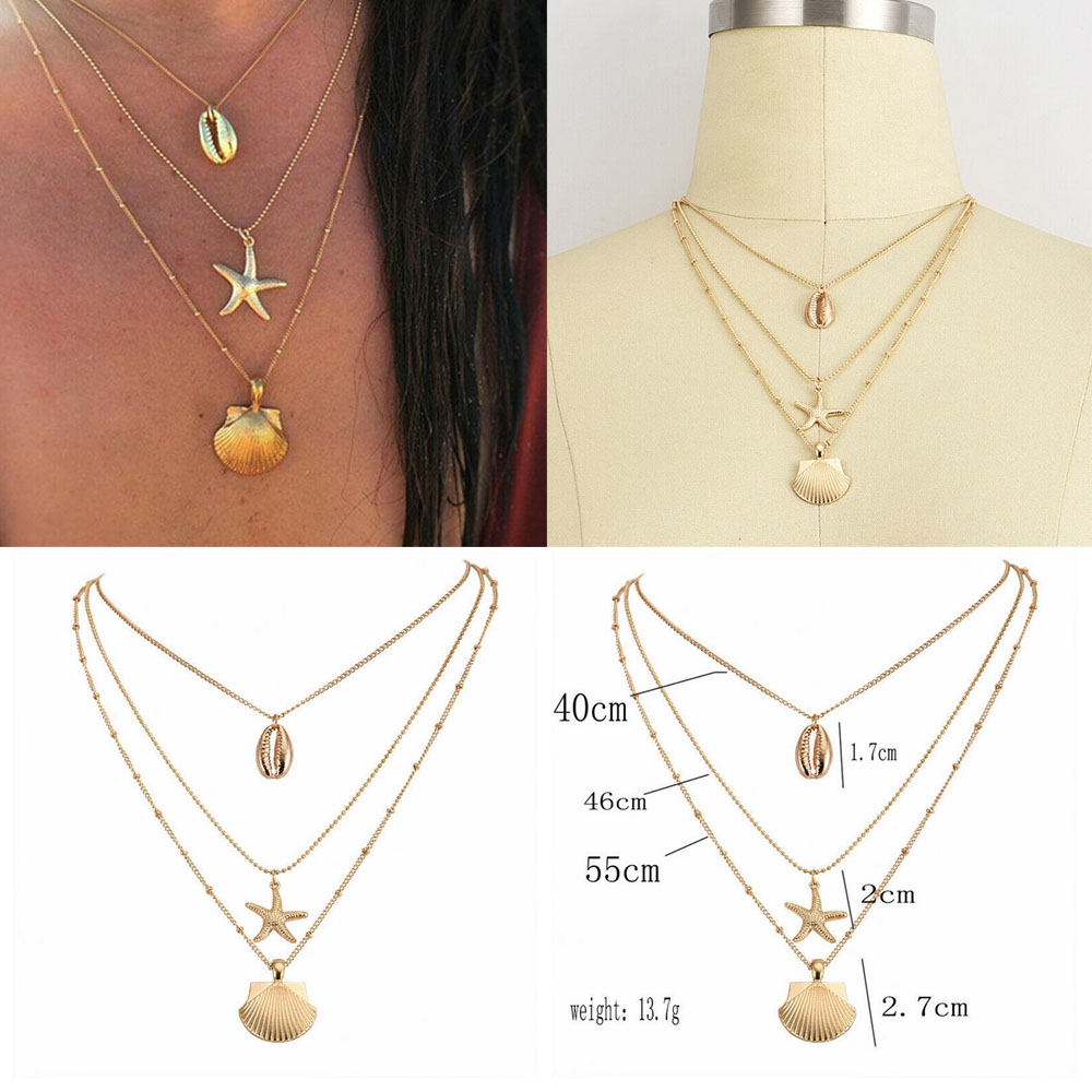Costume Jewellery Jewellery & Watches Boho Womens Multi-Layer Shell Pendant Necklace Girl Alloy Chian Necklace 45-55cm