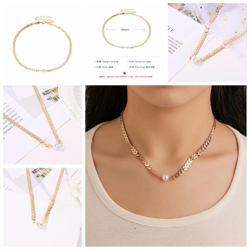 672481fffea Details about Vintage Fish Bone Gold Chain Imitation Pearl Drop Dangle  Jewelry Charm Necklace