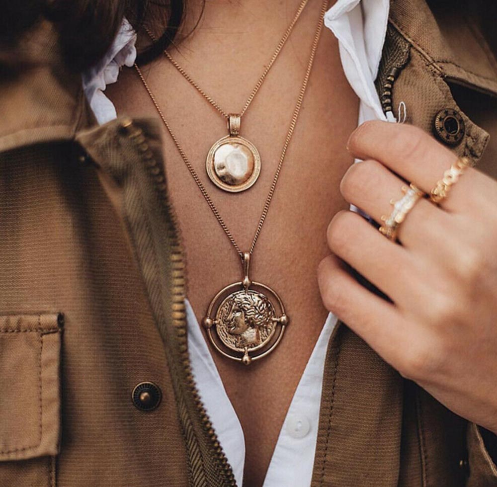 Trendy Coin Necklace Figure Medal Pendant Personalized Women Choker Double-layer