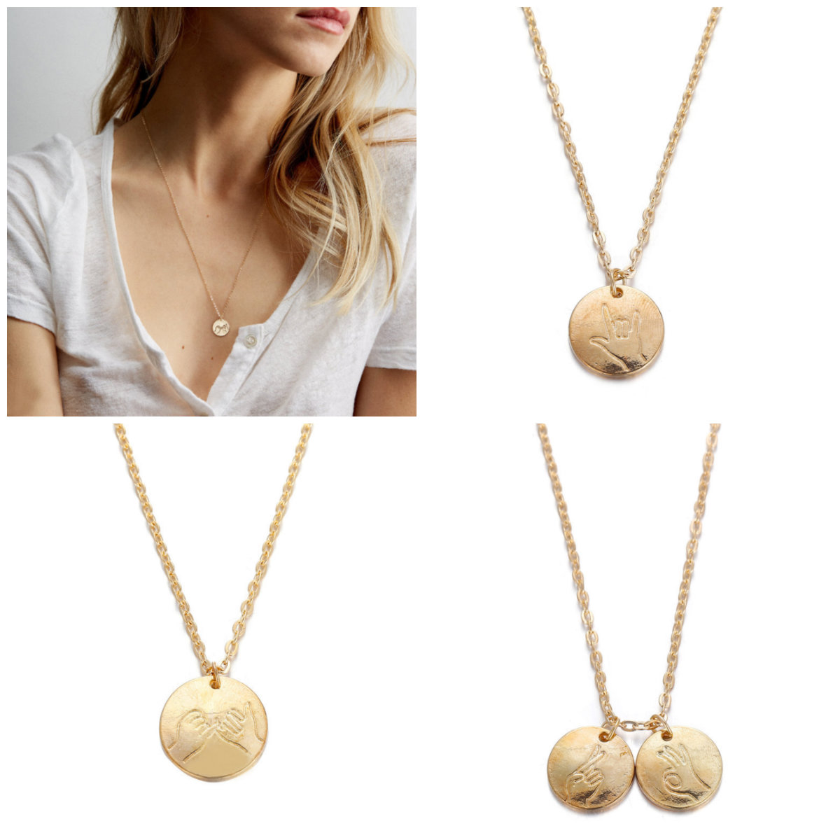 0c2599a594b Details about New Women Gesture Pendant Necklace Simple Cute Gold Circle  Metal Pendant Jewelry