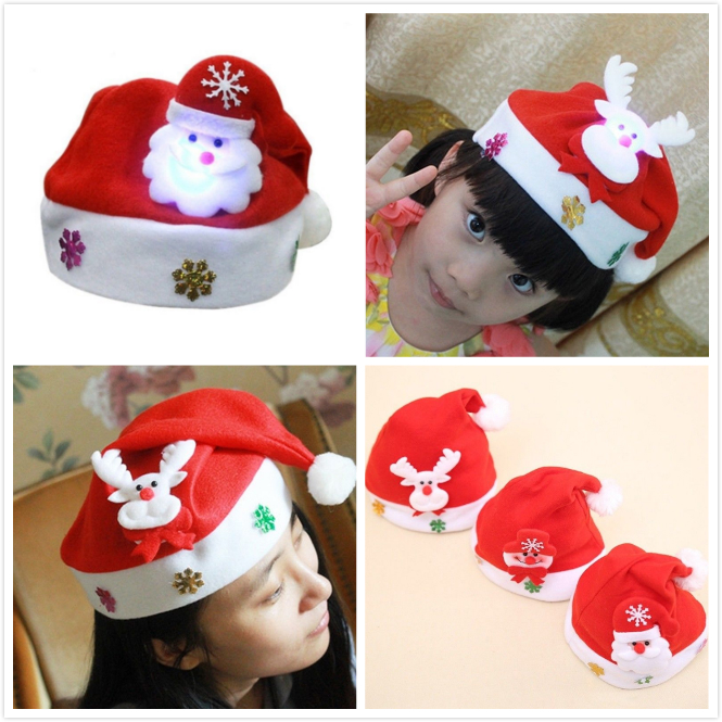 4c9e71fe7 Details about Kids Christmas Santa Hat Xmas Led Snowman Cap Reindeer Red  Plush Costume Gifts