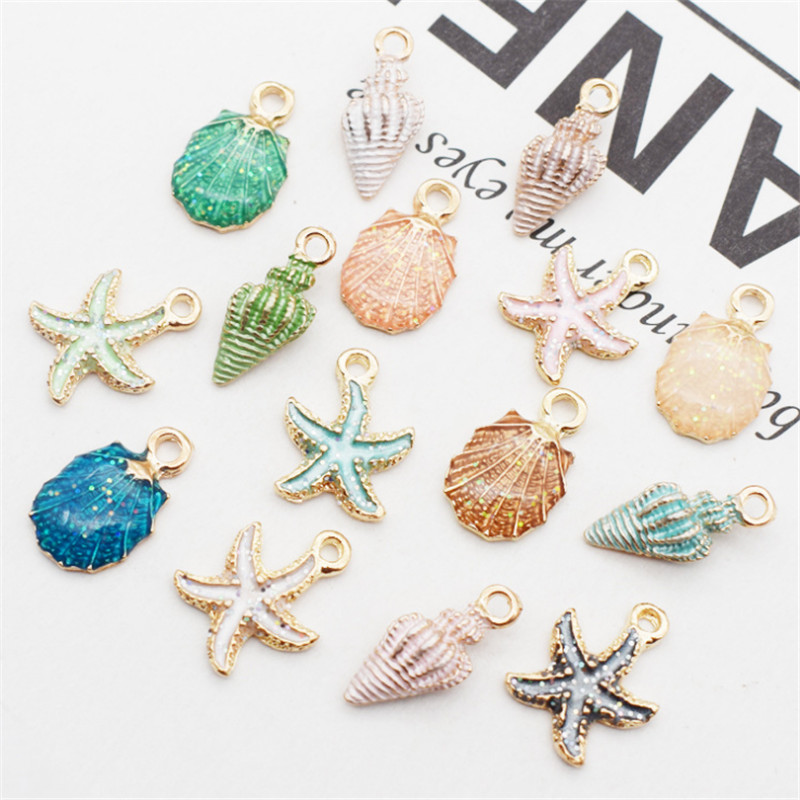 13 Pcs Mixed Starfish Conch Shell Metal Charms Pendant DIY Jewelry Making Super